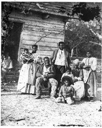 Several generations of a family are pictured on Smith's Plantation, South Carolina, ca. 1862. (Library of Congress)