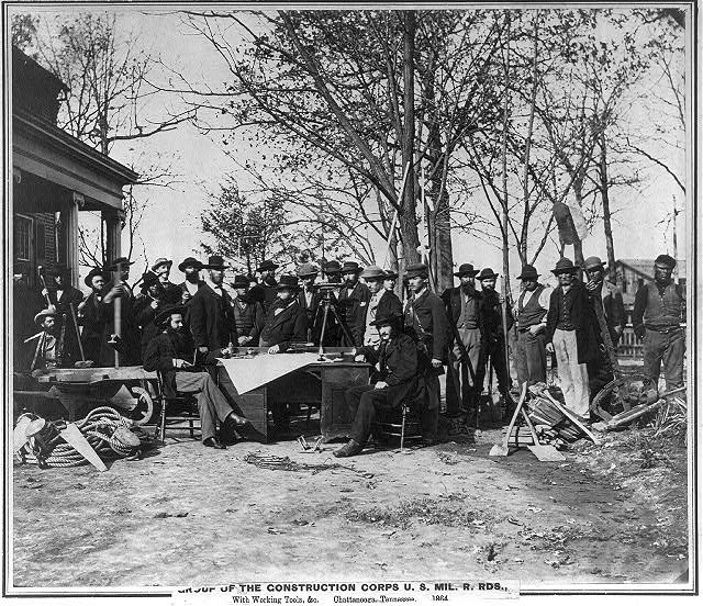 Group of the Construction Corps U.S. Military Railroads with working tools, etc., Chattanooga, Tennessee