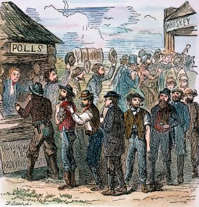 An illustration shows men lining up to vote on the issue of slavery in Kansas Territory. In 1855 voters chose to allow slavery.  The Granger Collection, New York