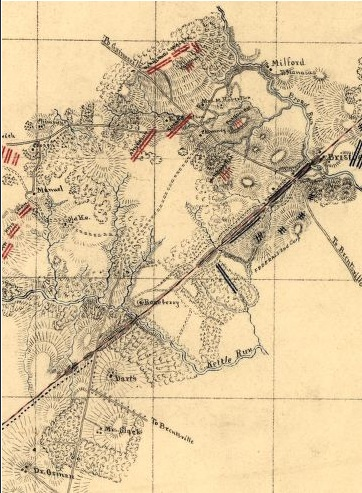 Sketch of the battle of Bristoe, Wednesday, Oct. 14, 1863 / by Jed. Hotchkiss, Capt. & Top. Engr., 2nd Corps, A.N.Va. (Library of Congress)