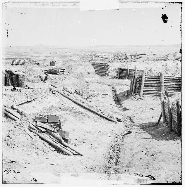 Petersburg, Virginia. Interior view of Confederate works near Elliott's salient, Courtesy of the Library of Congress # LC-B811- 3222